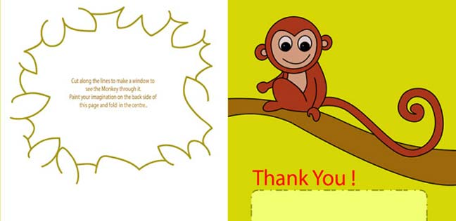 Thank you monkey card (Printable Card for Kids)