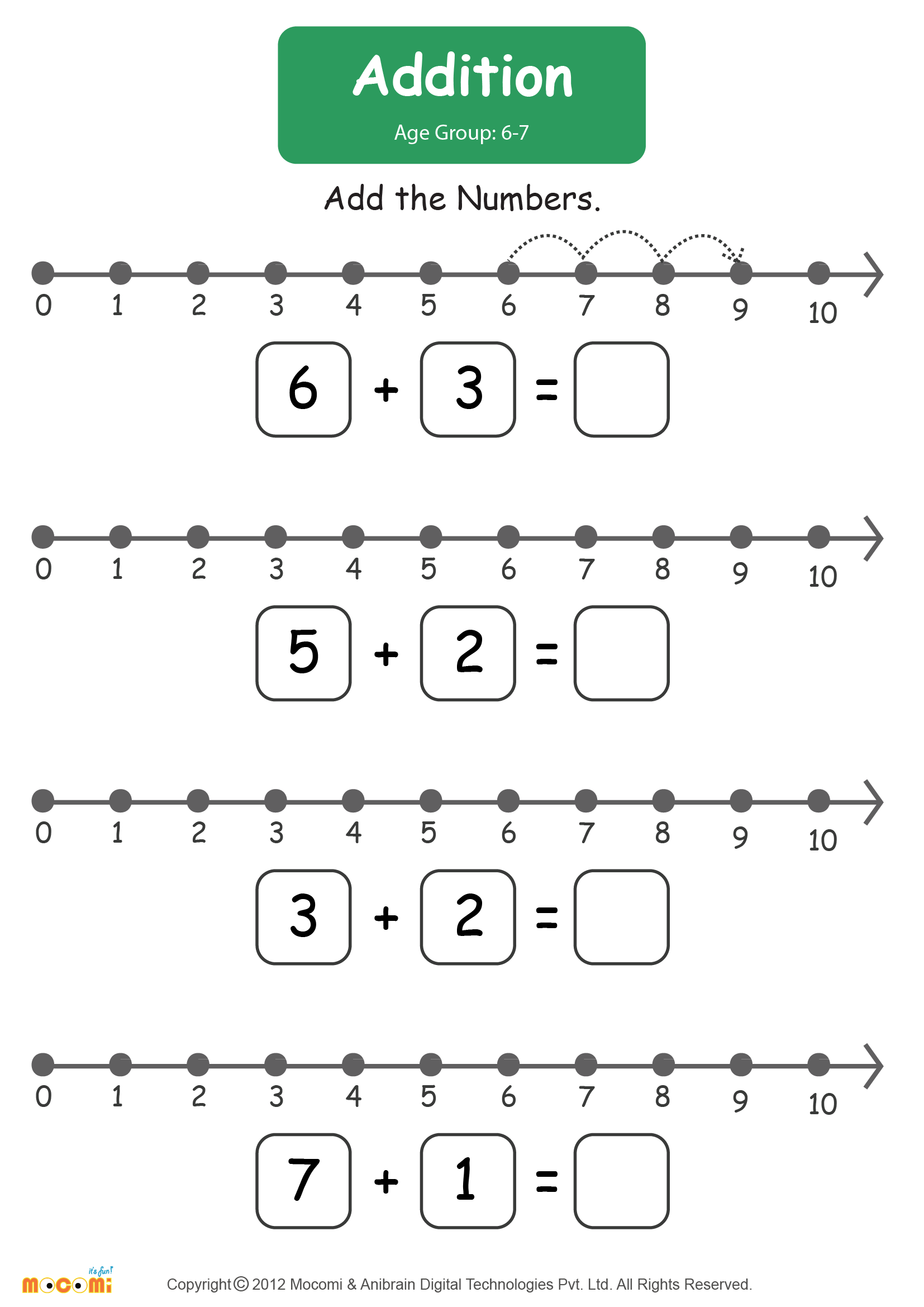 Number Line- Addition Worksheet