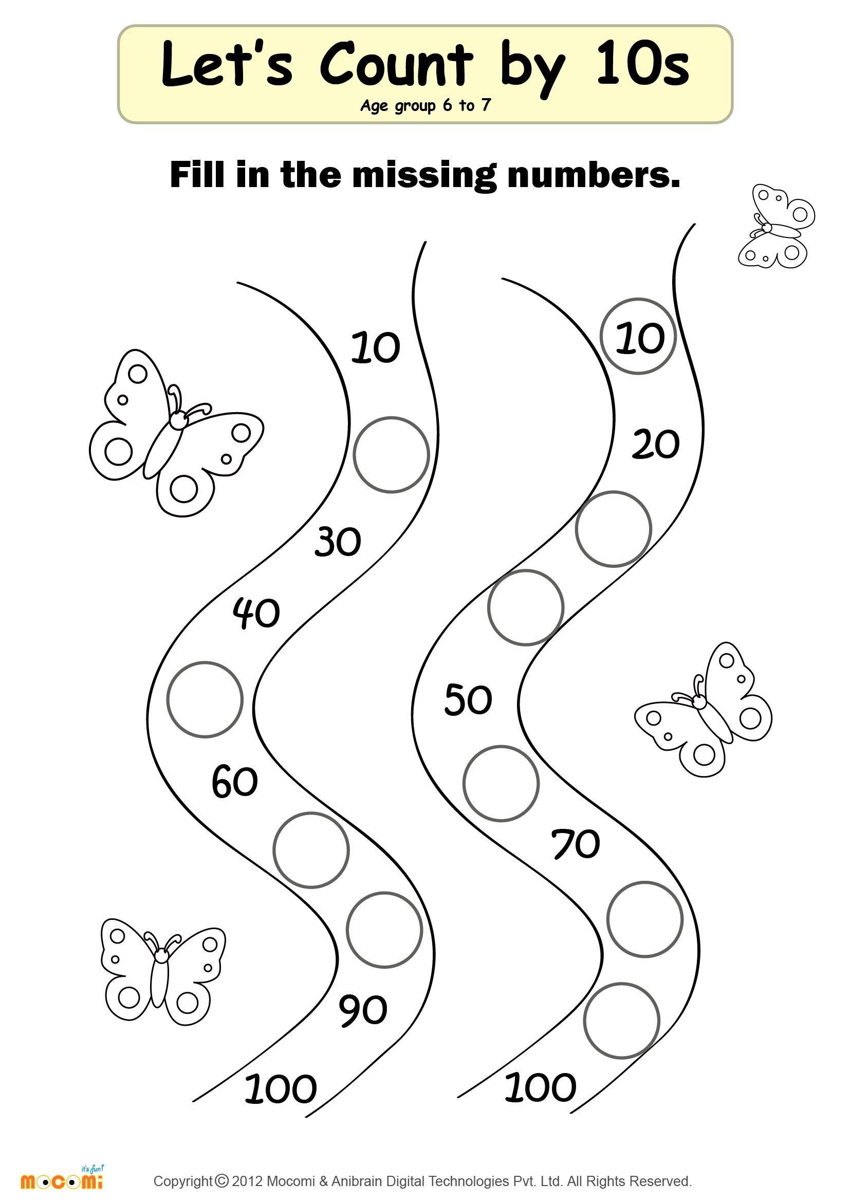 Missing Numbers Worksheet – #02