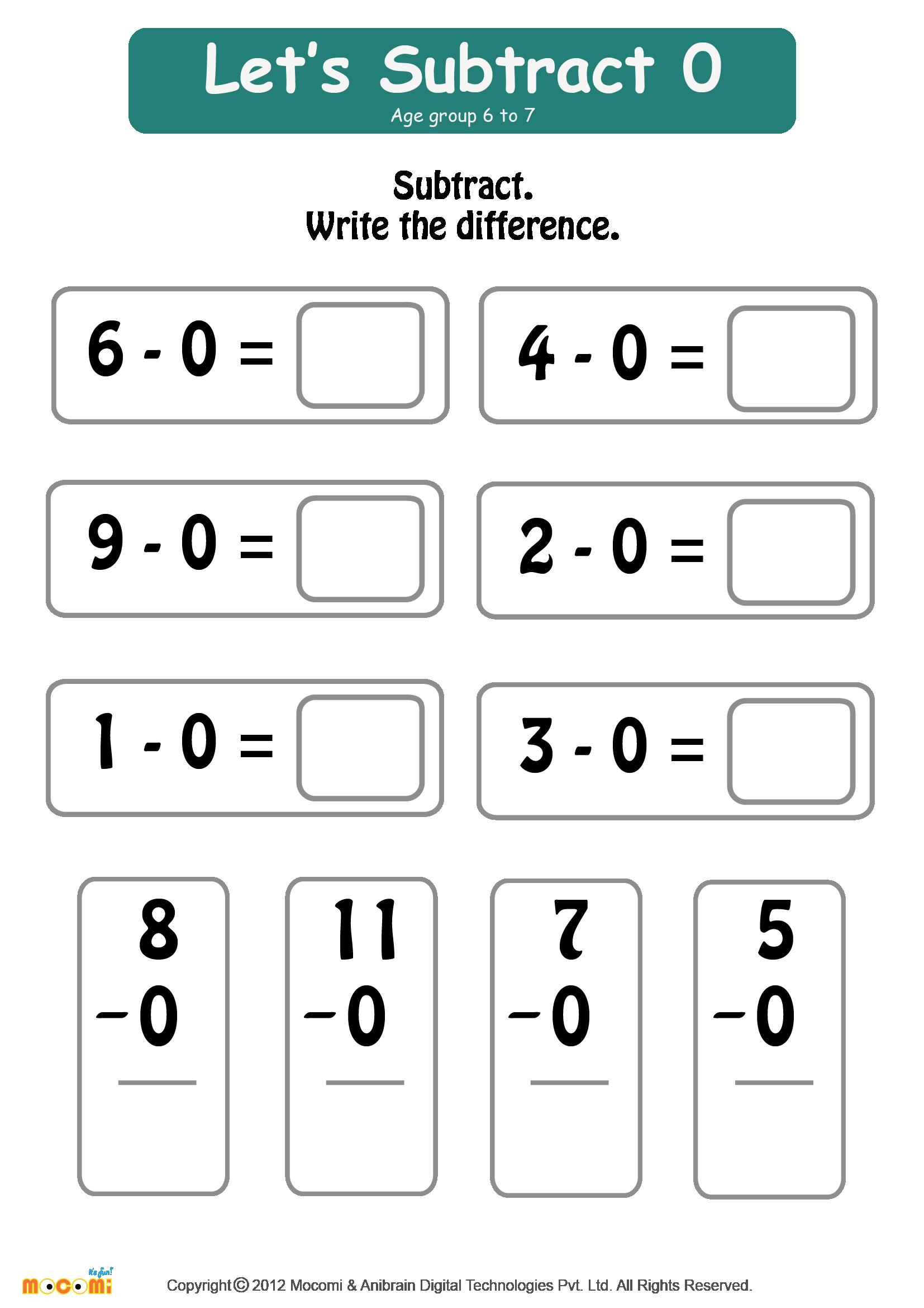 Subtract Zero Worksheet