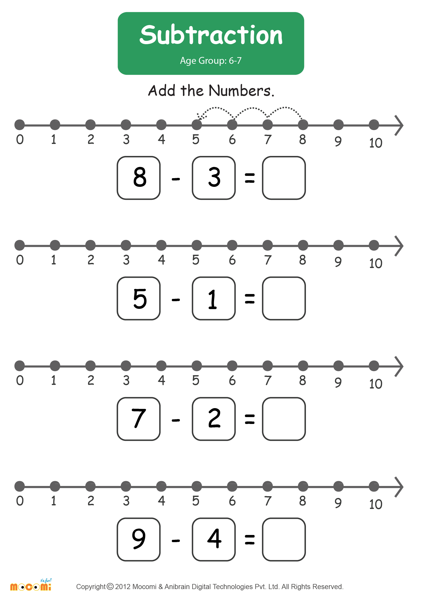 Subtraction Worksheet – #01