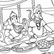 Lord Shiva and Lord Ganesha - Colouring Page