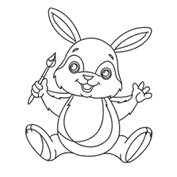 Rabbit the artist – Colouring Page