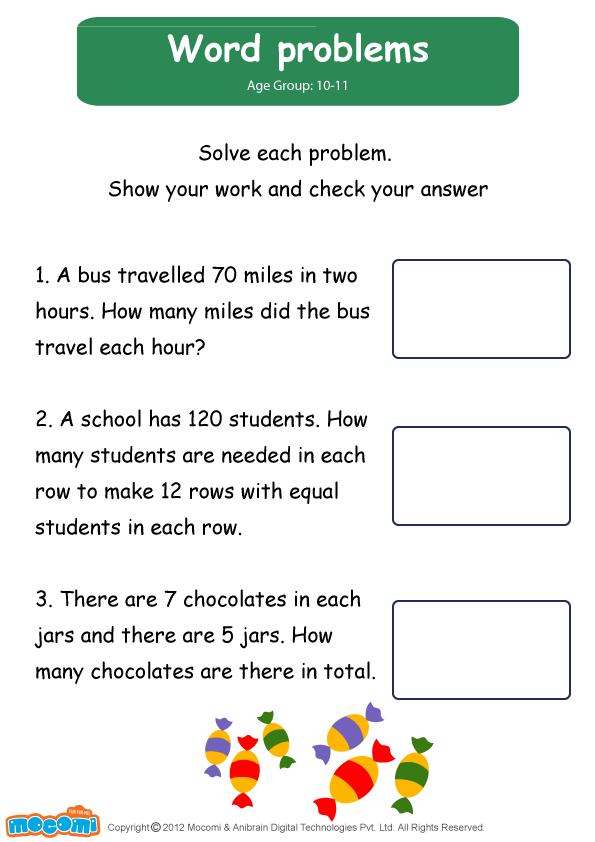 Word Problems Worksheet