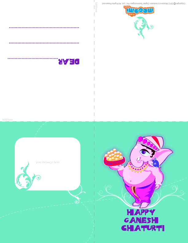 Happy Ganesh Chaturthi! 02 (Printable Card for Kids)