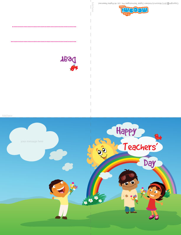 "Mocomi Kids wish ""Happy Teachers' Day!"" (Printable Card for Kids)"