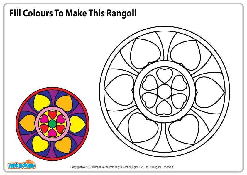 Rangoli Pattern –  Colouring Page