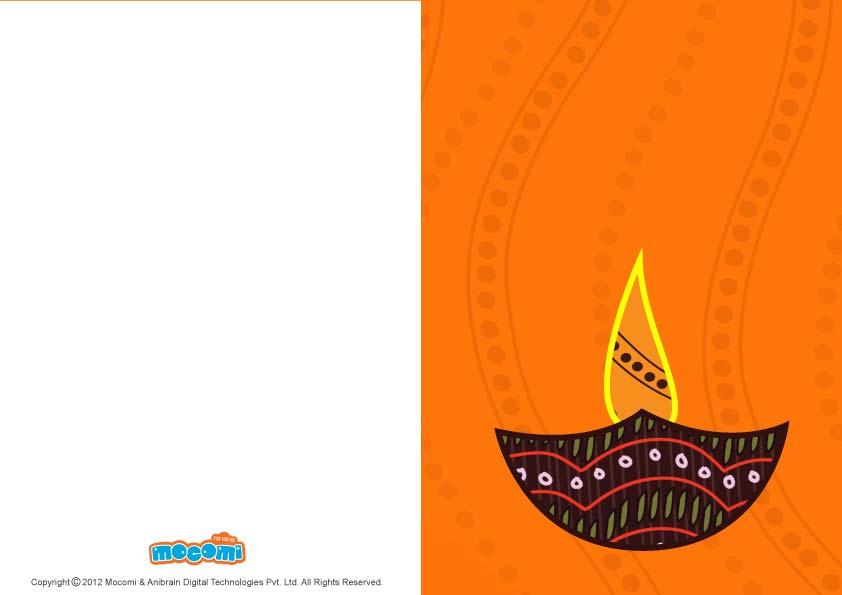 Diwali Lamp (Printable Card for Kids)