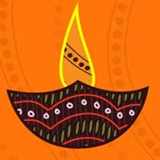 Diwali Lamp (Printable Card for Kids)