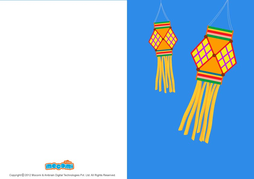 Diwali Lanterns (Printable Card for Kids)