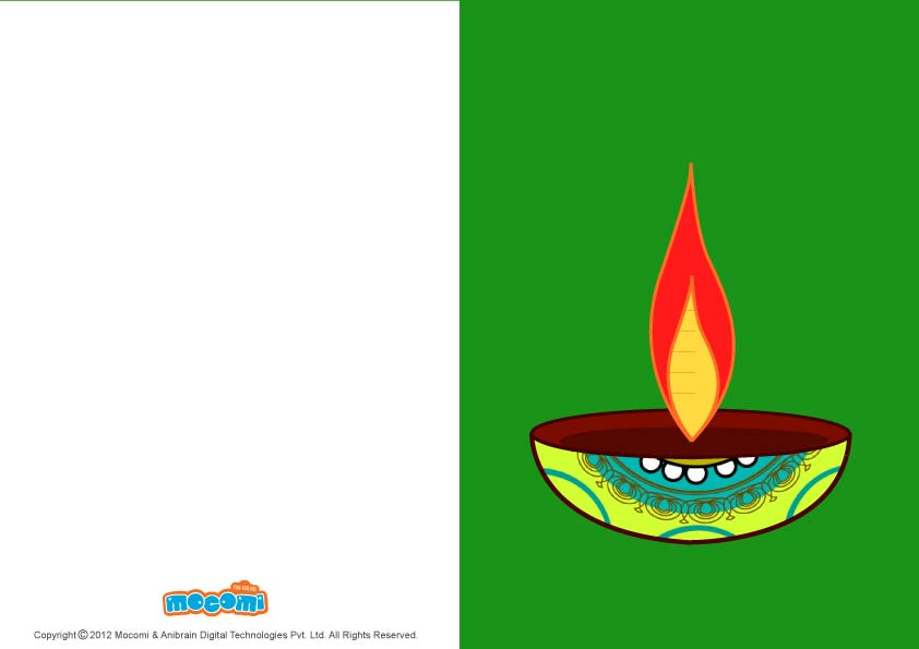 Diwali Lamps (Printable Card for Kids)