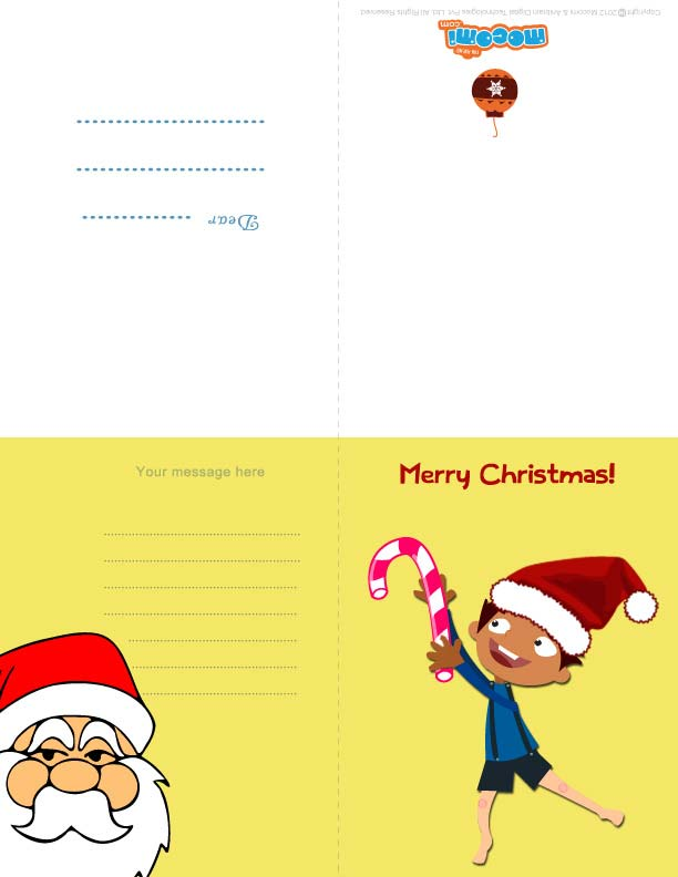 Merry Christmas – Mocomi Boy (Printable Card for Kids)