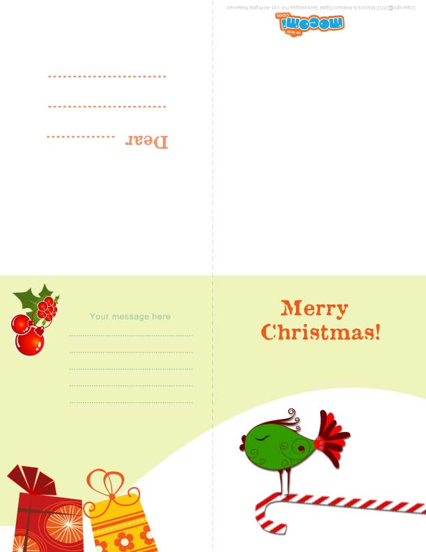 Christmas Birds (Printable Card for Kids)