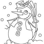 Merry Christmas- Snowman - Colouring Page