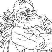 Merry Christmas- Santa Claus and Toys - Colouring Page