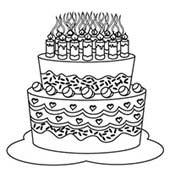 Merry Christmas- Cake - Colouring Page