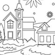 Merry Christmas- Church - Colouring Page