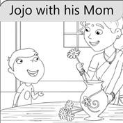 Jojo with his Mom – Colouring Page