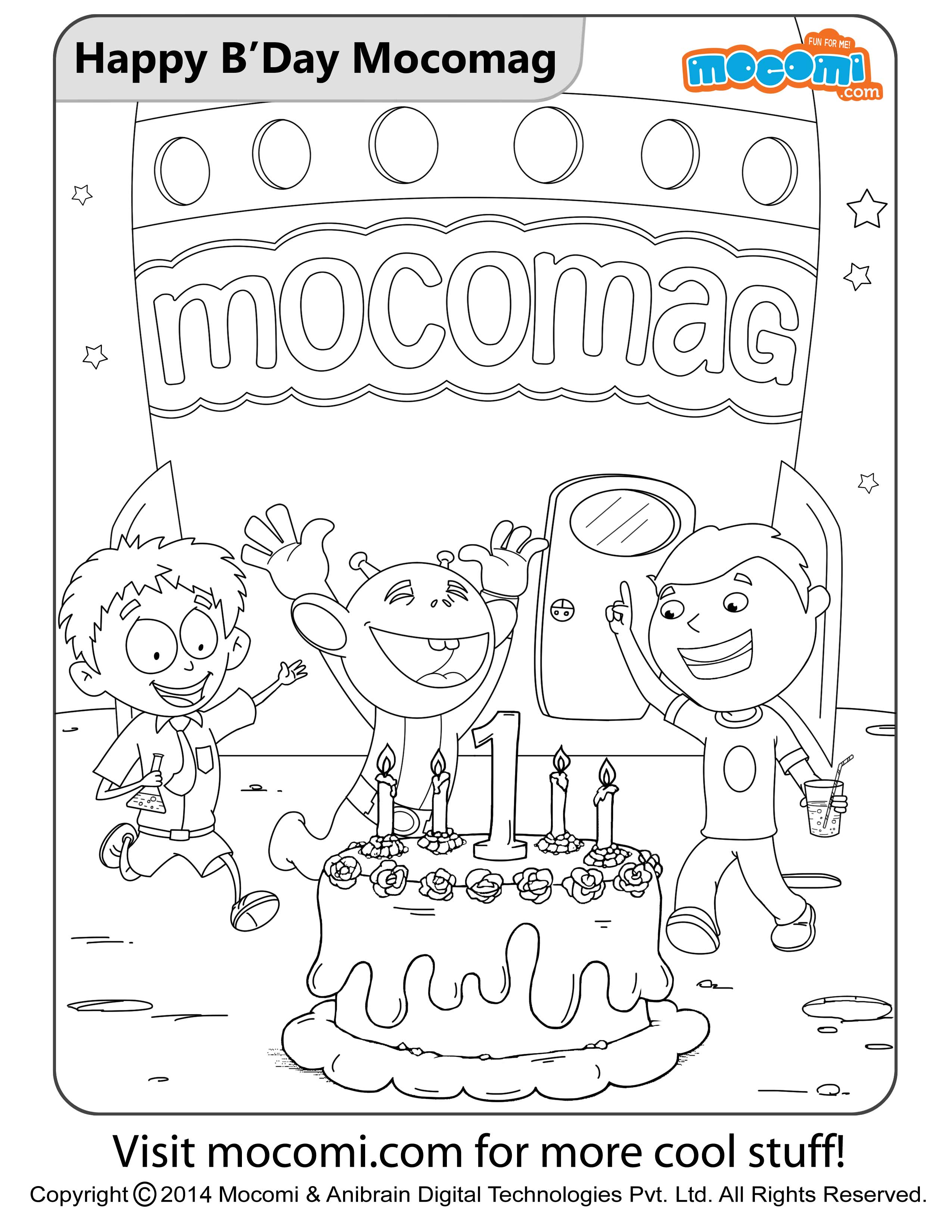 Happy Birthday Mocomag – Colouring Page
