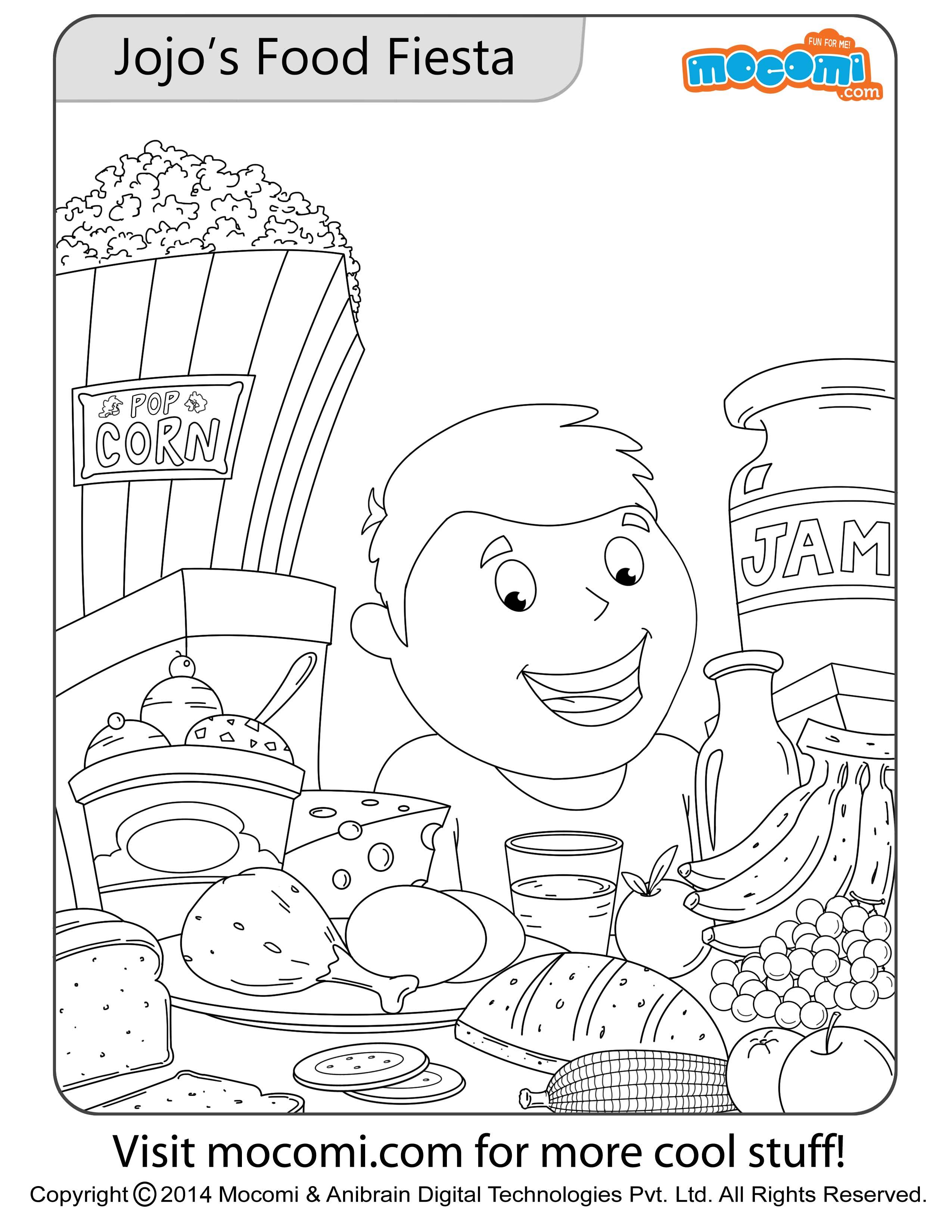 Jojo's Food Fiesta – Colouring Page