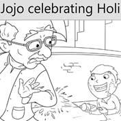 Jojo Celebrating Holi - Colouring Page