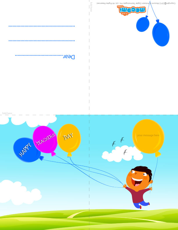 Happy Teachers' Day! (Printable Card for Kids)